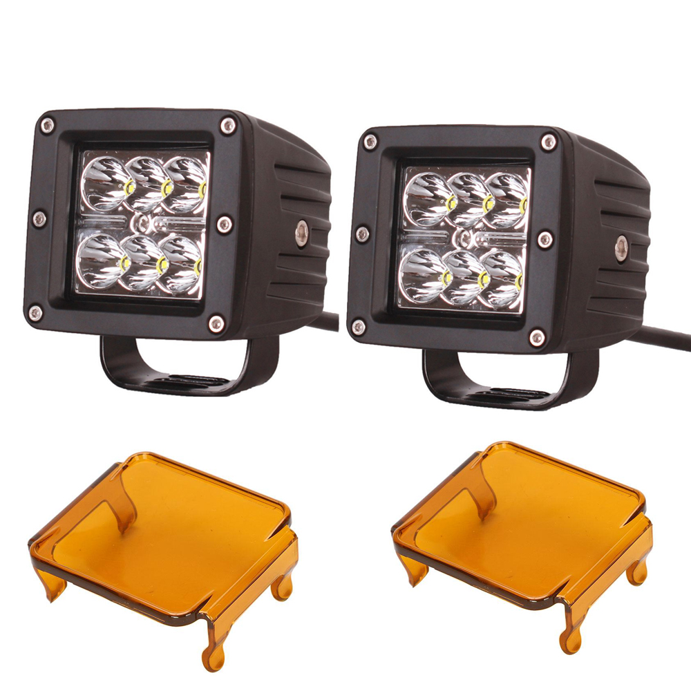 Honzdda 3x3 Inch 18w Led Work Light 12V Spot Led Fog Light for Offroad ATV Boat 4x4 dually with 2pcs Free Amber Protective Cover