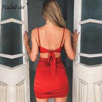 Nadafair-vestido de verano fruncido con lazo de corte bajo para mujer, vestido de tirantes Sexy entallado para fiesta, rojo y negro, 2018 N