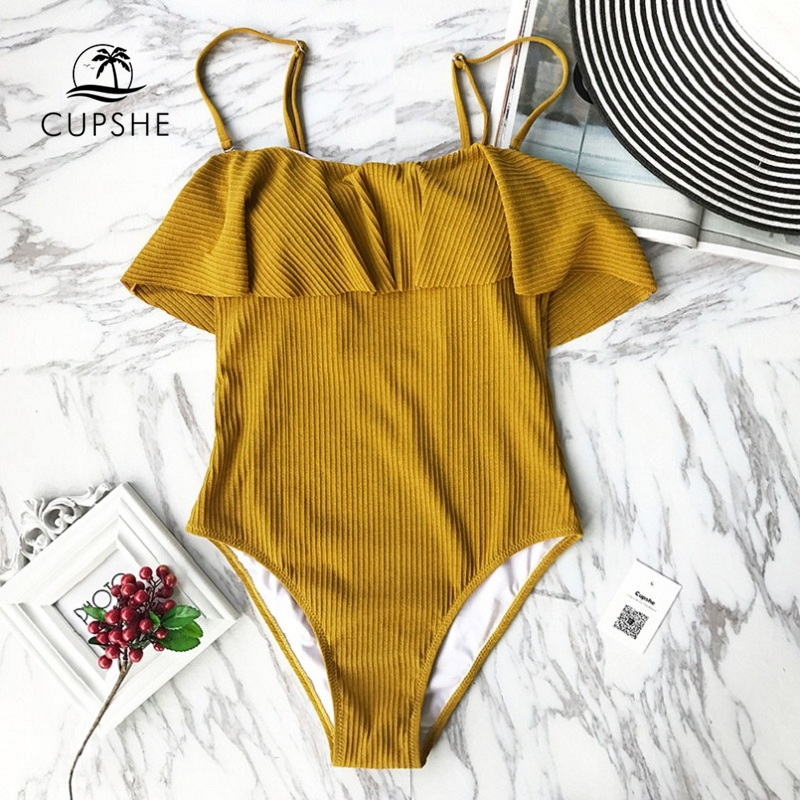 CUPSHE Rozen Maiden Leaves Print Ruffled Falbala One Piece Swimsuit Summer Sexy Bikini 2019 Women Beach Bathing Suit Swimwear