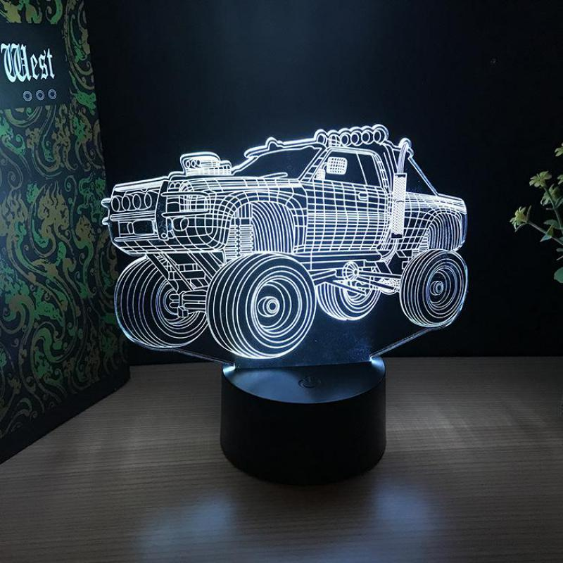 Off-road Vehicle 3 D Lights Gifts Crafts Acrylic Night Lights Birthday Gifts Ambience 7 Color Change 3d Usb Desk Lamps
