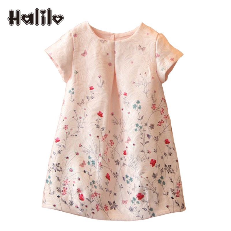 Halilo New 2018 Girls Summer Dress Kids Clothes Girls Party Dress Children Clothing Pink Princess Flower Girl Dresses Hot Sale hot sale new 2016 summer girl dress cat print baby girl dress children clothing children dress 2 6years