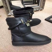 Australia Sheepskin Really women winter snow boots luxury brand H winter flat boot women 2016 christmas gift boots warmboot
