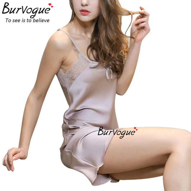 Burvogue new sexy Lingerie one piece spring nightdress sleepwear silk robe sleepwear nightgown comfortable underwear lace robe