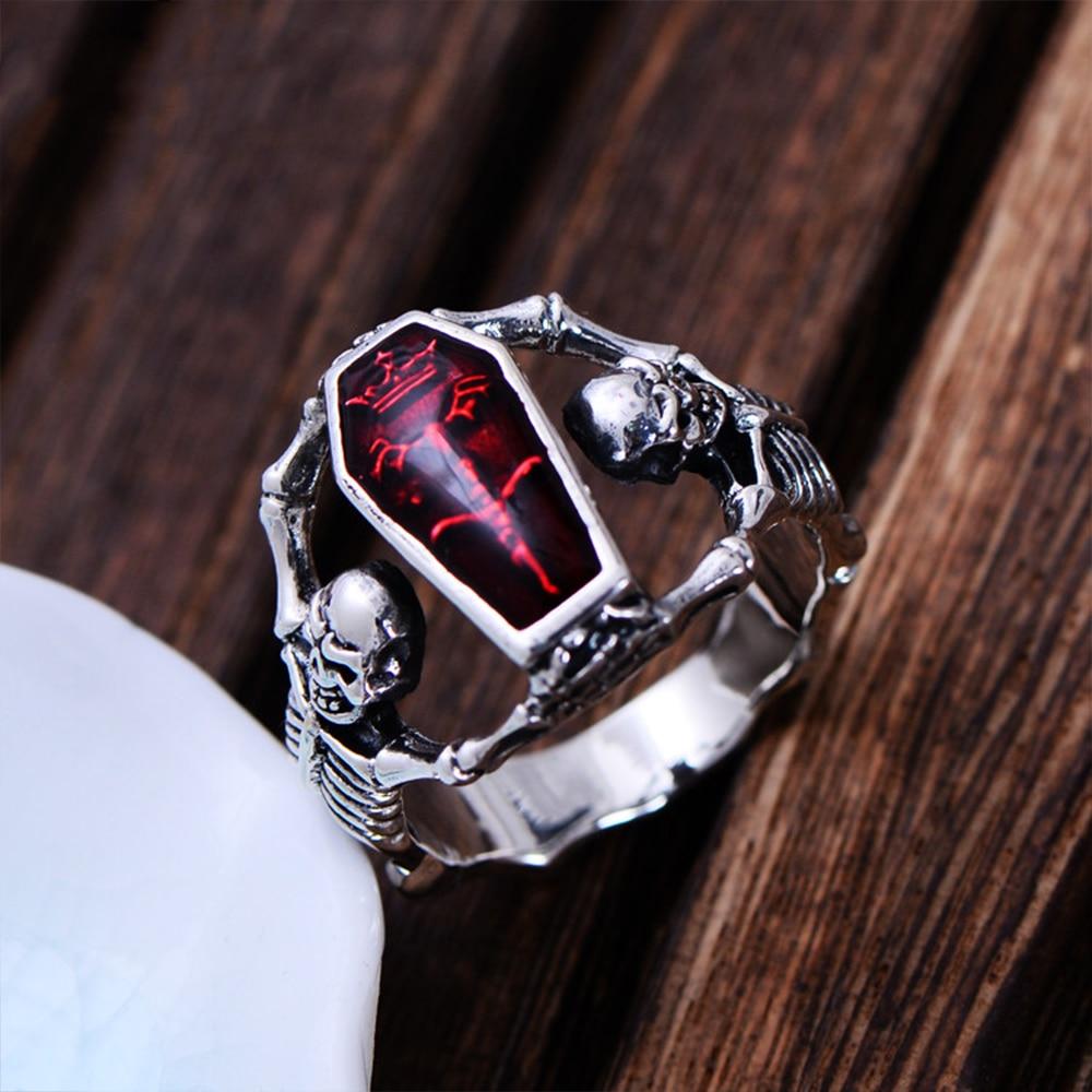 MetJakt Men's Punk Human Bones Skull Ring with Resin Solid 925 Sterling Silver Handmade Halloween Jewelry for Men and Boy