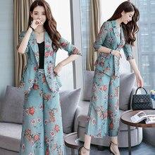 female summer OL new fashion Cotton linen pants suit printing blazer + wide leg