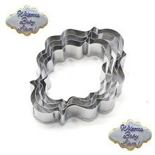 VOGVIGO 4pcs Wedding Blessing Frame Shape Cookie Cutters Stainless Steel Cake Stencil Biscuit Chocolate Mold Kitchen Pastry Tool