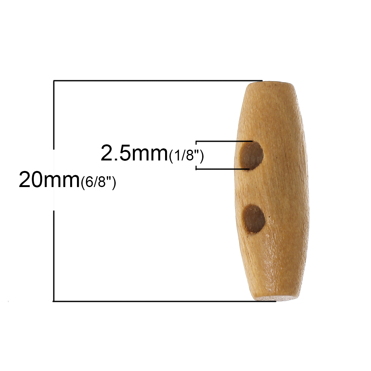 100PCs Brown wood buttons Sewing Horn Toggle Buttons For Coat Cloth Accessories Craft DIY And Scrapbook Decoration 20 x7mm