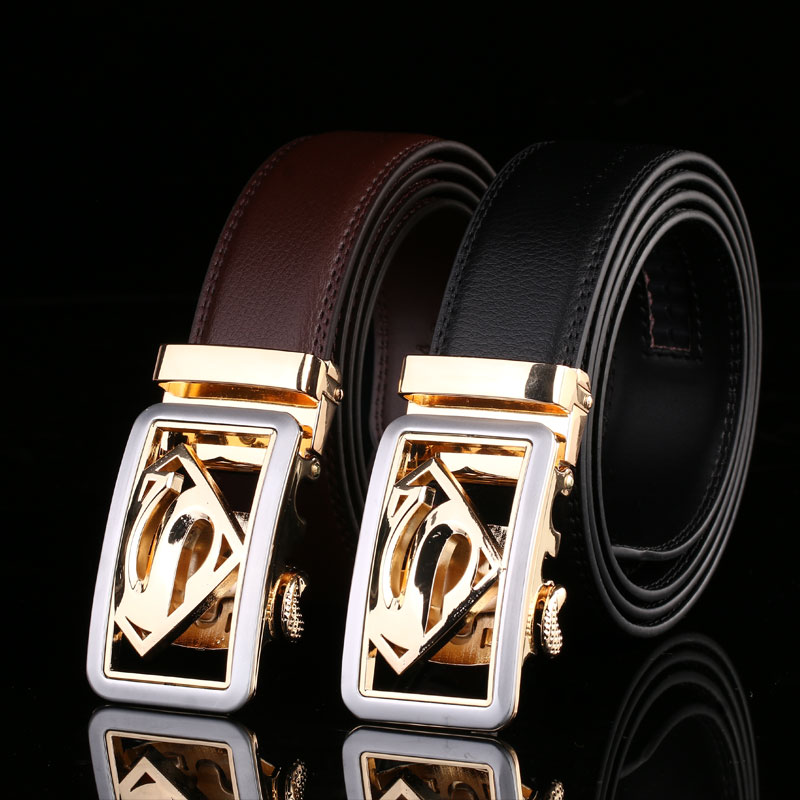 2019 Hot Fashion Men's Business Belts,Luxury Superman Automatic Buckle Genuine Leather Belts For Men Waist Belt Free Ship