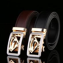 2020 Hot Fashion Mens Business Belts,Luxury Superman Automatic Buckle Genuine Leather Belts For Men Waist Belt Free Ship