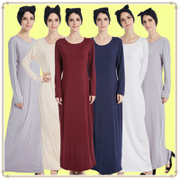 Muslim bottomed dress Muslim Abaya stretch dress leisure Kaftan dress with long skirt inside Dubai Middle East Women's Dresses