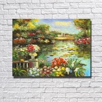Water Lily Flower Painting Pond Flower Scenery Beautiful Canvas Pond Wall Pictures Hand Paint Cheap Modern Art