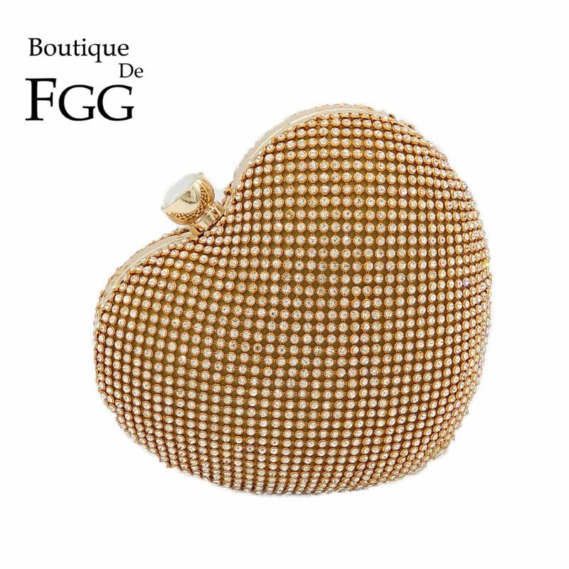 Dazzling Women Gold Crystal Heart Evening Bag Shoulder Bags Bridal Wedding Box Clutch Purses and Handbags Party Metal Clutches