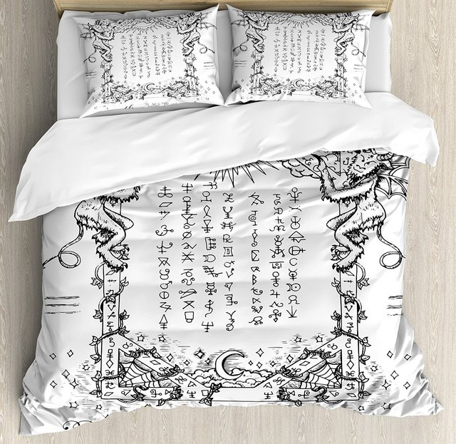 US $125 27 30% OFF|Occult Duvet Cover Set Gothic Medieval Magic and Spell  Symbols Eternal Life Ritual Chart Themed Artwork 4 Piece Bedding Set-in