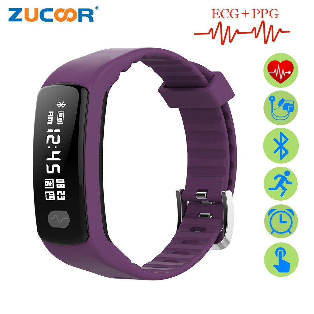 ZUCOOR Braccialetto Intelligente ECG PPG Heart Rate Monitor RB77 Pressione Sanguigna Fascia Pedometro Elettronica Fitness Wristband Per Le Donne Degli Uomini