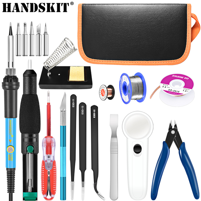 Handskit 22 Pcs Soldering Iron Kit 220V/110V 60W Electric Adjustable Temperature Soldering Iron With Soldering Tips stand Tools