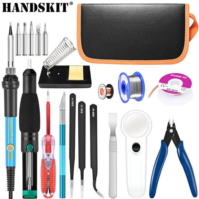Handskit soldador eléctrico de temperatura ajustable, herramientas de soporte, Kit de pistola para soldar, 220V/110V, 60W, 22 Uds.