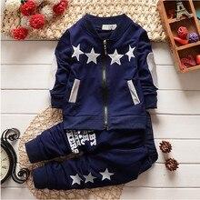 Bibicola/комплекты одежды Рождественский костюм для маленьких мальчиков пальто с длинными рукавами и штаны, костюмы для детей, кардиган на молнии, спортивный костюм со звездами