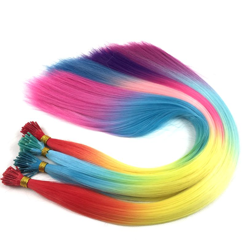 """Luxury For Braiding 22"""" 500strands/lot 50strands/pack Straight Rainbow Color Synthetic I Tip Feather Hair Extensions"""