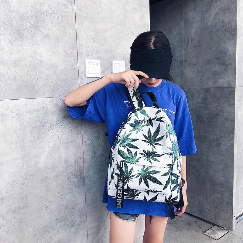 Ransel Wanita Gadis Remaja Tas Fashion Hot Pantai Hijau Daun Tren Fashion Wanita Ransel Perjalanan Tas Tas Kapasitas Besar