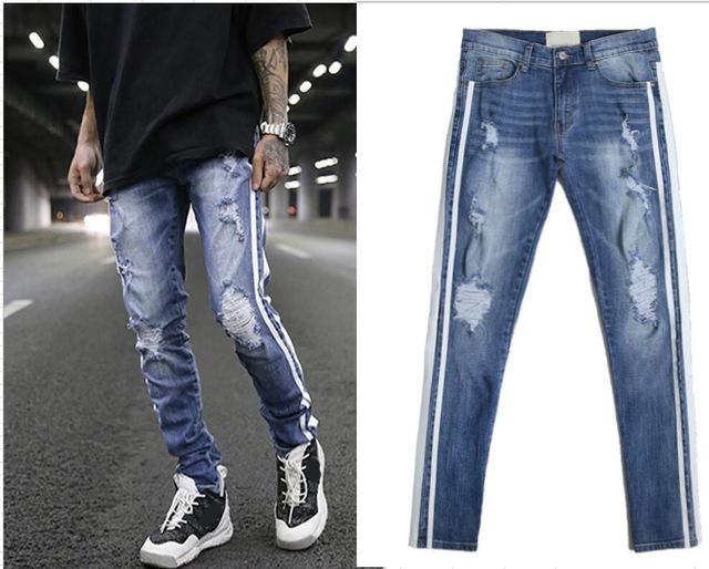 2018 TOP Justin Bieber FEAR OF GOD Biker Double white stripe Ripped Destroyed jeans hip hop skinny slim fit men holes Jeans