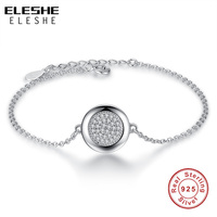ELESHE Authentic Pure 925 Sterling Silver Forever Love Clear CZ Round Charm Bracelets Bangles Luxury Sterling