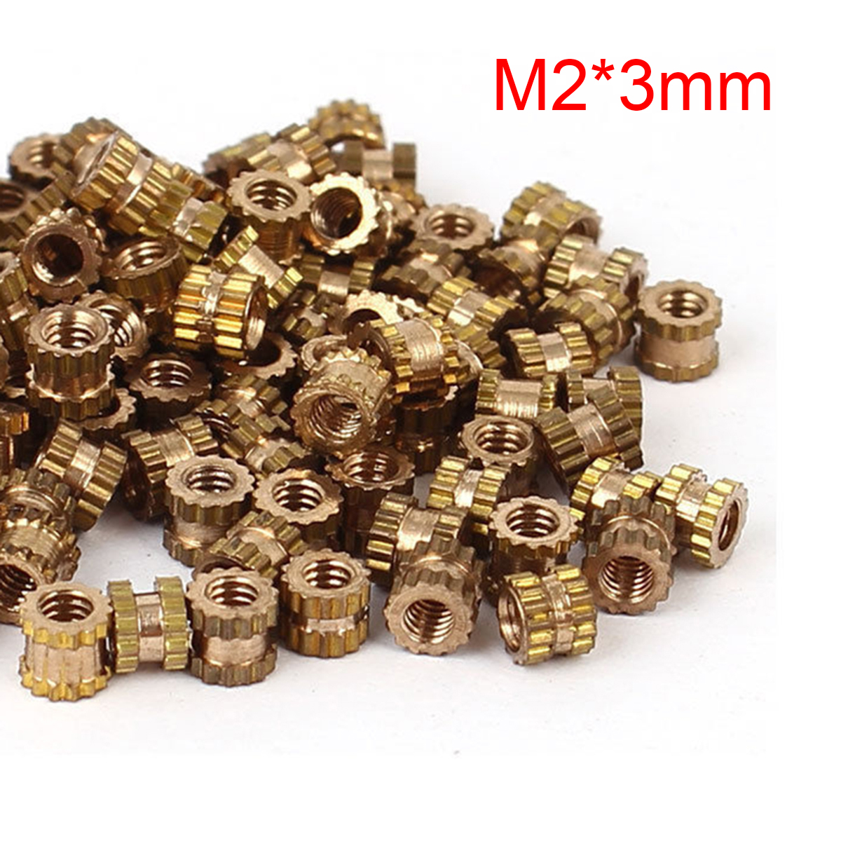 100pcs <font><b>M2x3mm</b></font> Brass Cylinder Knurled Threaded Round Insert Embedded Nuts OD 3.2mm Mayitr image