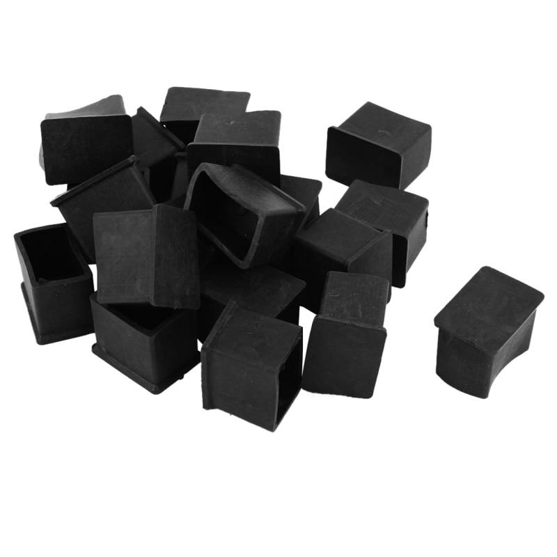 Rubber PVC Covers Chair Leg Protector End Caps 20mmx30mm 20Pcs Black