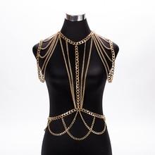 MEILIYISHI Gold chunky Metal Body shoulder Chain Jewelry Necklace shoulder chain Harness Dress Decor Slave Chain Jewelry