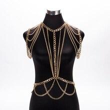 MEILIYISHI Gold chunky Metalen Body schouder Chain Sieraden ketting schouder Harnas Jurk Decor Slave Chain Sieraden