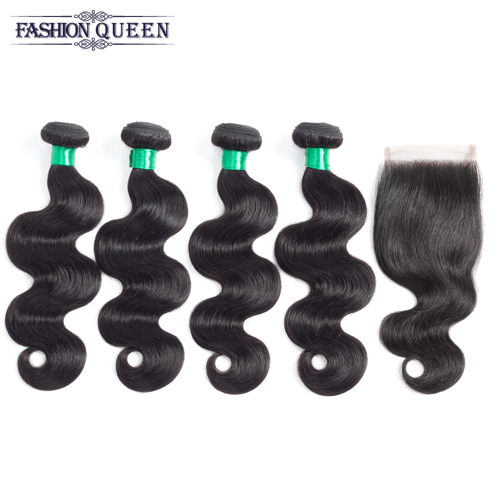 Fashion Queen Pre-Colored Straight Brazilian Human Hair Weave 4 Bundles with Lace Closure Natural Color Non-remy Hair Extensions