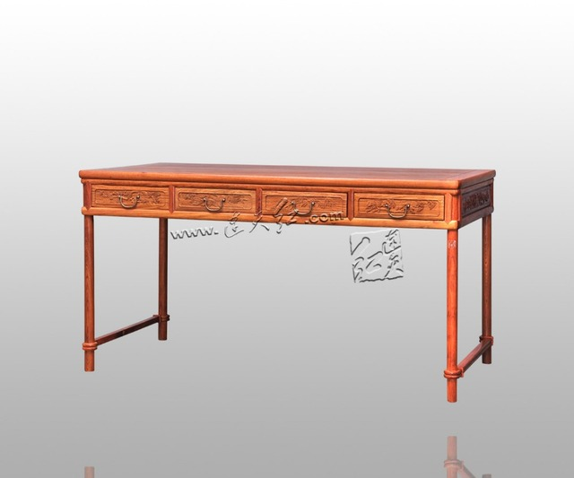 Rectangle Rosewood Office Computer Desk Clical Antique Solid Wood Living Room Furniture Annatto Wooden Laptop Table