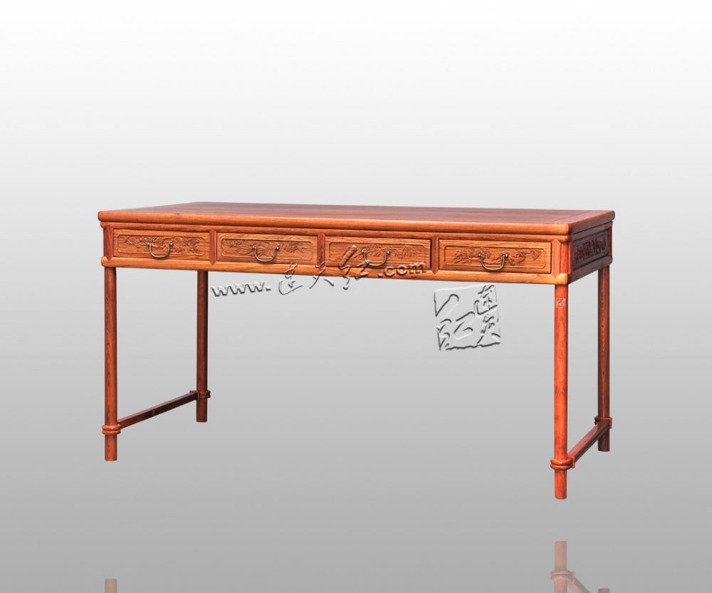 €4131.02 5% de réduction|Rectangle palissandre bureau ordinateur bureau  classique Antique en bois massif salon meubles Annatto en bois table ...