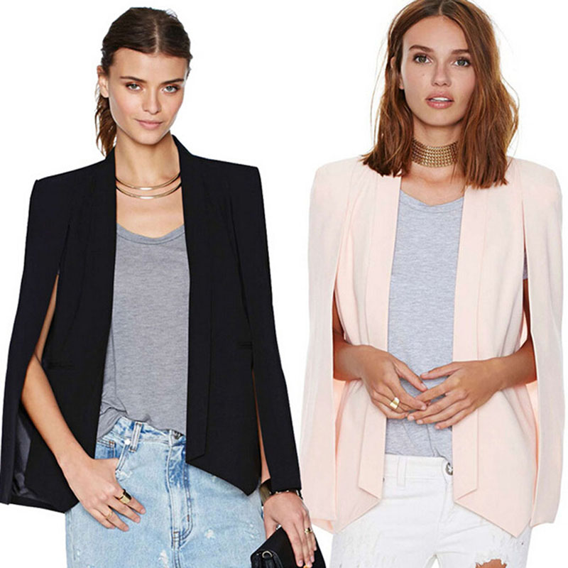 2016 New Ladies Women Long Sleeve Lapel Cape Poncho Office Jacket Cloak Blazer Suit Coat KR2 B3