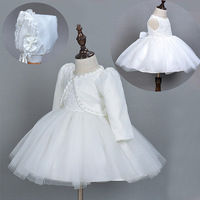 Baby Girls Christening Gown Dresses handwork pearl Infantis Princess Wedding Party Lace Dress With Hat for Newborn Baptism Frock