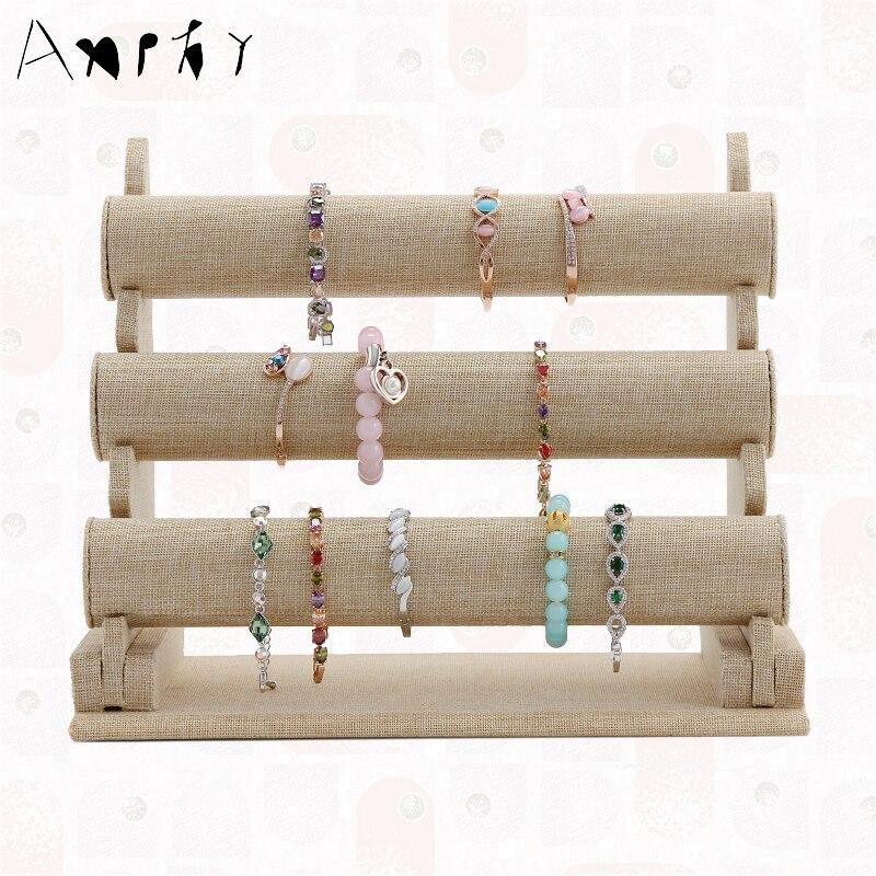 Diy 3 Tier Jewelry Stand: 3 Tier Linen Bracelet Display Rack Jewelry Bracelet