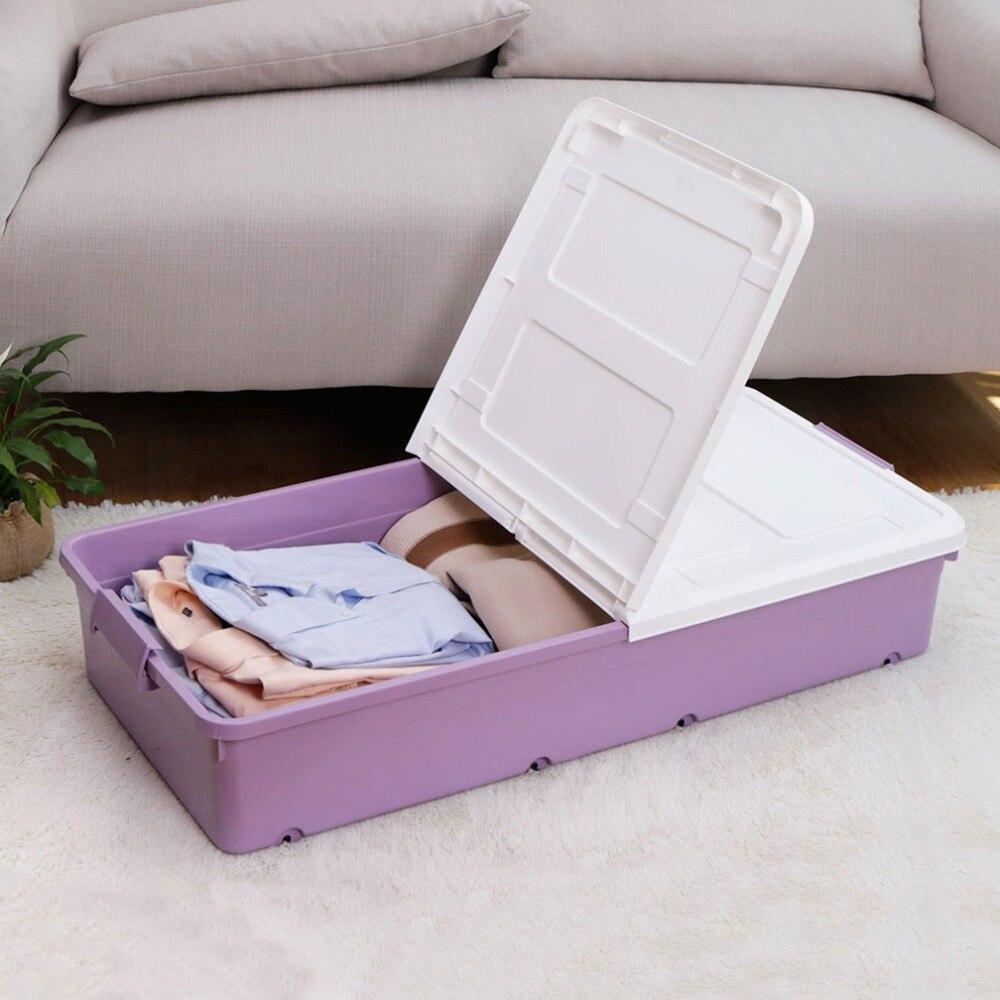 1x grande boîte de rangement en plastique sous le lit à roulettes avec couvercles chaussures vêtements organisateur boîte de rangement conteneur DQ9051xilie