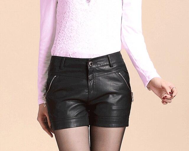 2015 New Arrived Leather Women Shorts Plus Size 4XL Shorts Ladies Spring Autumn And Winter PU Winter Slim  shorts feminino