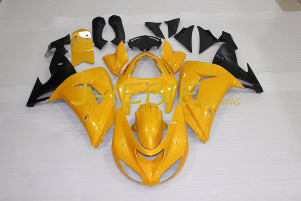 Gold black Injection Fairing Body Work Frame Kit for Kawasaki NINJA ZX10R ZX10 ZX 10 R 2006 2007