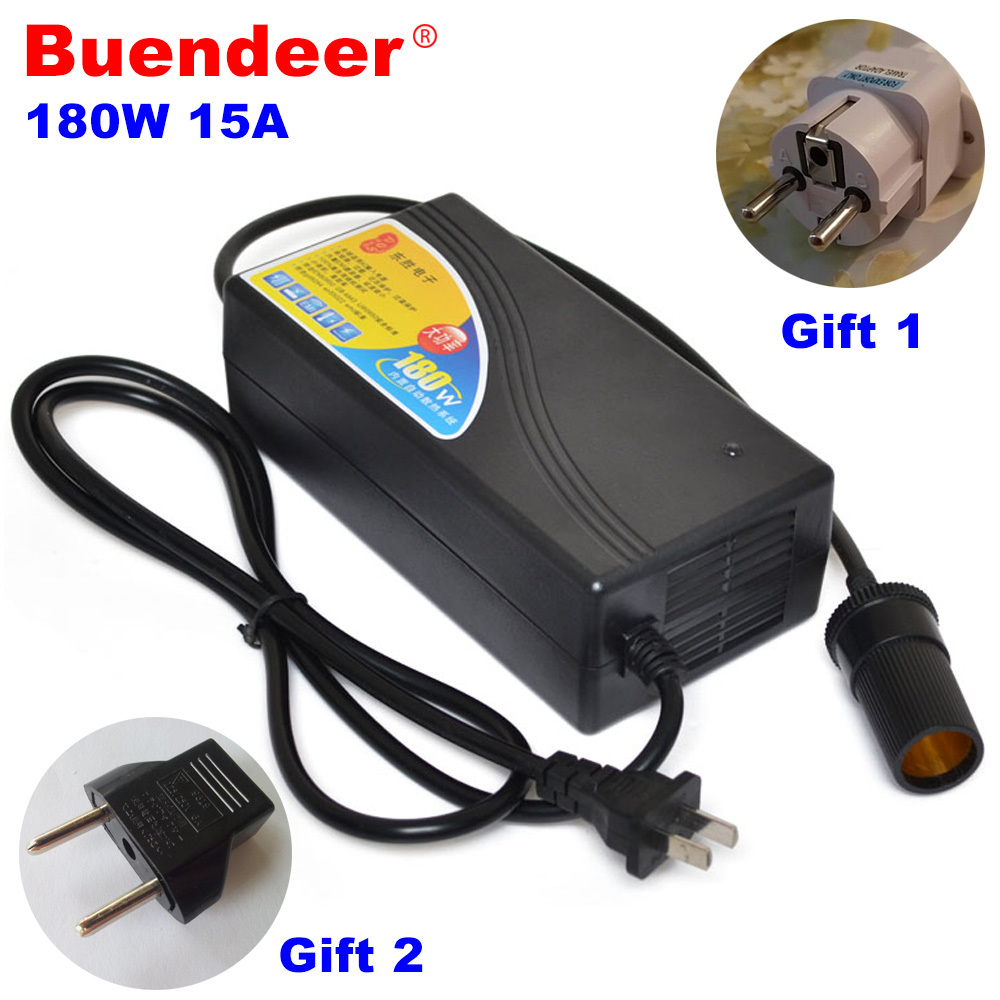 Buendeer автомобильный трансформатор прикуривателя высокой мощности 180 Вт, 15 А, переменный ток 110 В 220 В, постоянный ток 12 В, конвертер для домашнего использования для насоса, холодильника Зажигалка      АлиЭкспресс