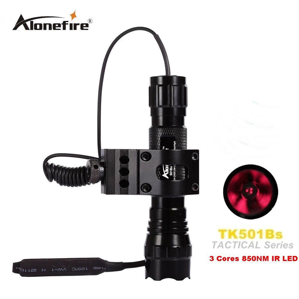 AloneFire 501B Waterproof 5W 850nm IR Infrared LED Flashlight Torch for Night Vision Camera and Camcorder for 18650 battery