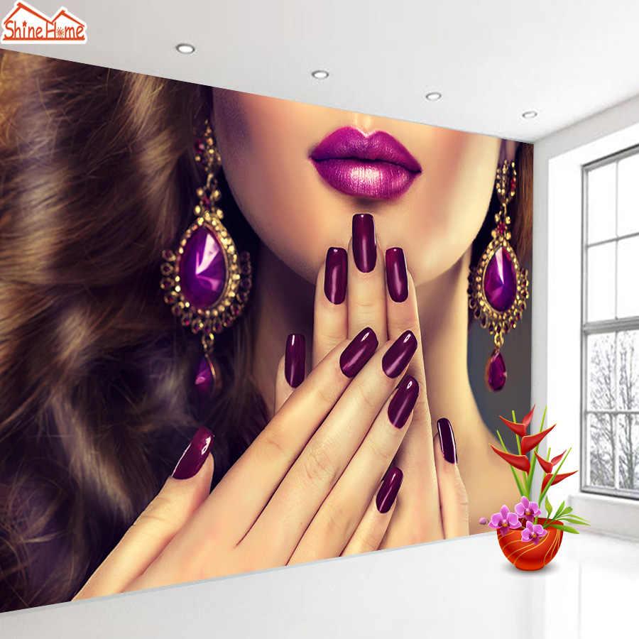 ShineHome-3d רקעים עבור 3 d סלון קיר 3d נייל יופי סלון טלוויזיה חנות חנות דקור אמנות נייר קירות טפט רולס
