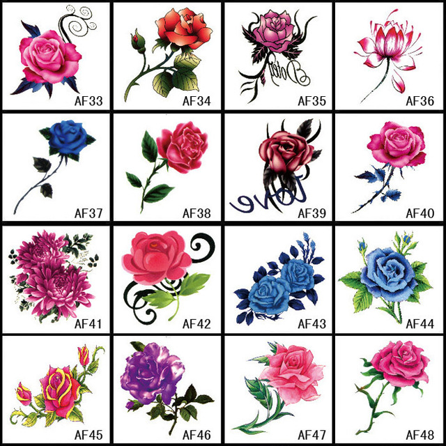 16pcs set new arrival 3d flower tattoo decals body art waterproof temporary tattoo sticker for. Black Bedroom Furniture Sets. Home Design Ideas
