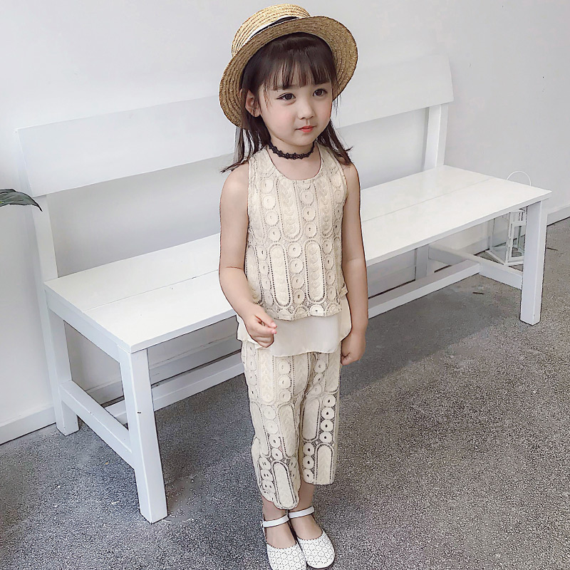 TUTUYU girls set 2018 new summer fashion suit childrens clothing sleeveless Korean lace casual two-piece for girl suite