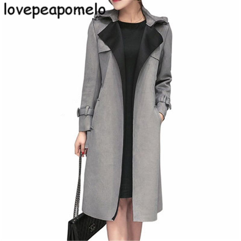2018 Spring And Autumn Windbreaker Large Size Women's Costume  Coats  Korean Loose Office Lady Suede Fabric Outwear S-3XL J270