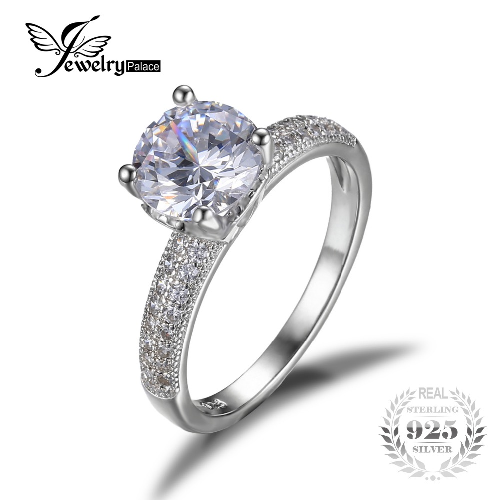 Anniversary Engagement Ring Genuine 925 Sterling Silver Jewelry Brand New  Retro Dazzling Round Cut Gemstone Ring