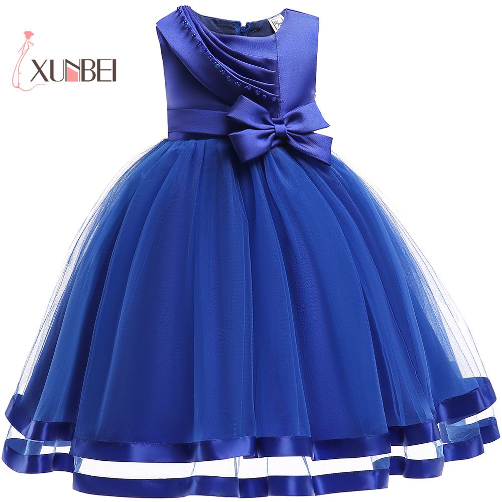Cute Ball Gown Blue Pink Tulle   Flower     Girl     Dresses   2019 Knee Length Big Bow   Girls   Pageant   Dress   First Communion   Dresses