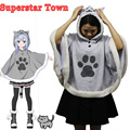 Neko Atsume Cute Cat Backyard Cosplay Cloak Japanese Cartoon Warm Costume Hoodies With Tail Kawaii Free Size Daily Fleece Coat