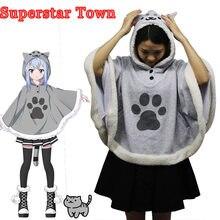 652e3440cf8 Neko Atsume Cat Backyard Cosplay Cloak Cute Japanese Cartoon Warm Costume  Hoodies With Tail Kawaii Daily
