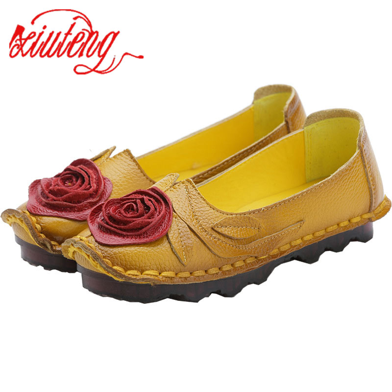 Xiuteng Handmade Flower   Leather   Women's Shoes   Suede     Leather   Soft Bottom Middle-Aged Mother National Wind Flat Shoes Women