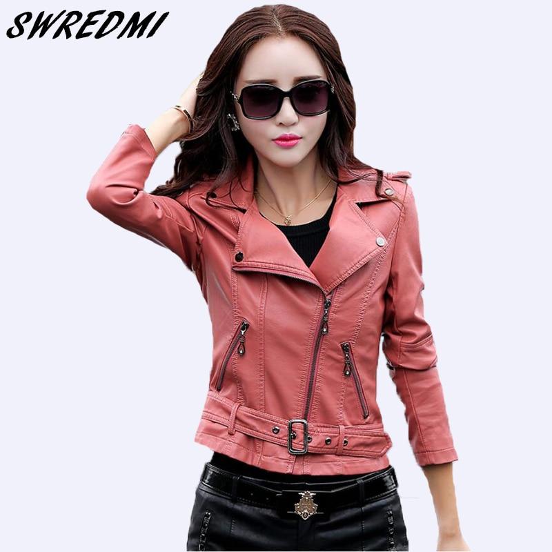 SWREDMI Autumn   Leather   Clothing Female Short   Leather   Coats Slim Fashion Women's   Leather   Jacket Motorcycle   Leather   Tops Plus Size